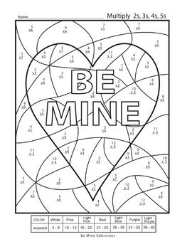 Multiplication Color by Numbers Valentines Day Worksheet ...