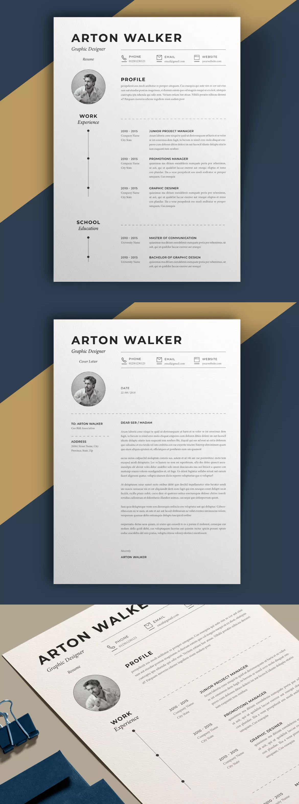 Resume Airton By Sz81 On Envato Elements Cv Design Template Cover Letter For Resume Resume