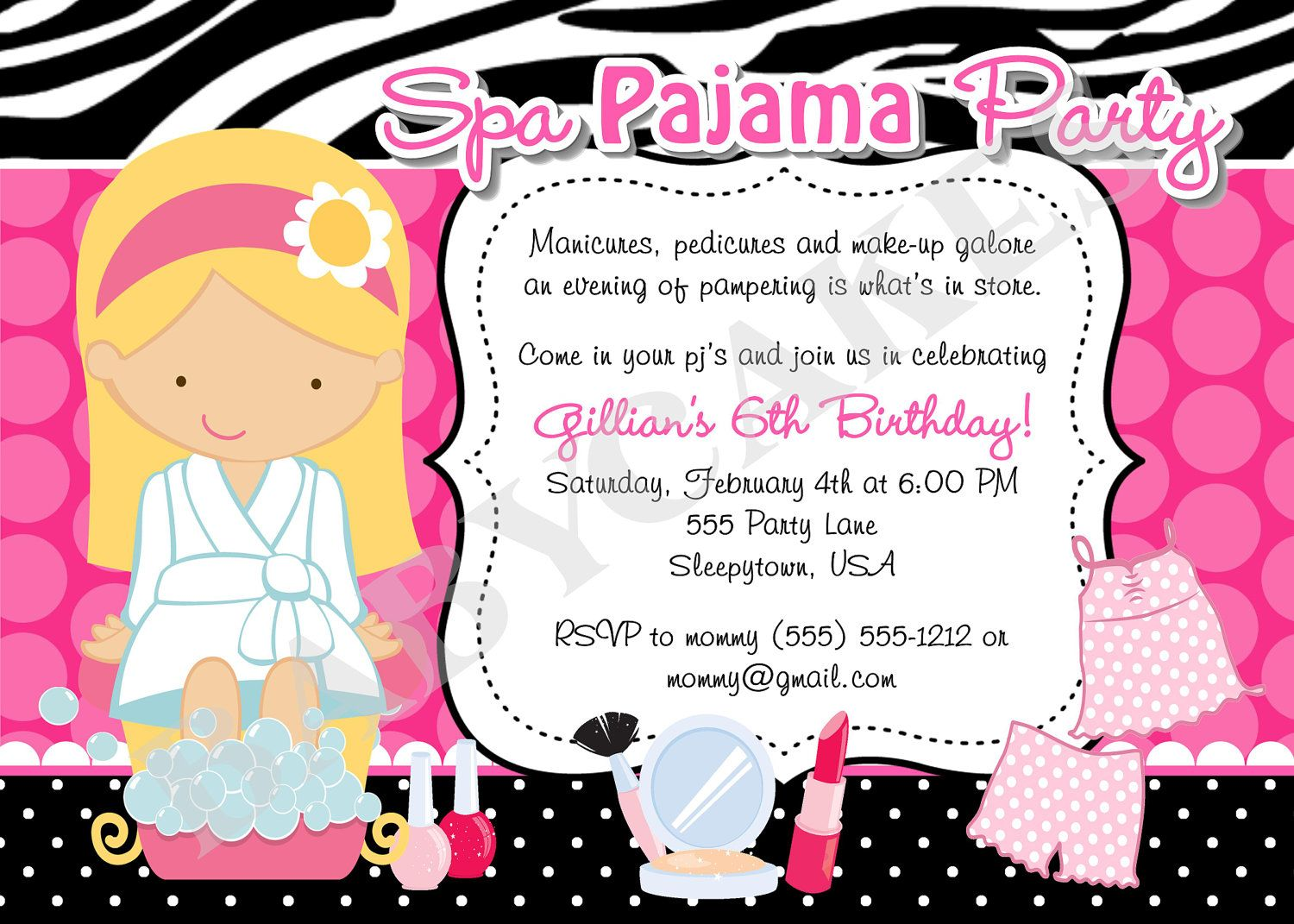 Spa Pajama Party Invitation invite spa party sleepover spa day – Girls Spa Party Invitations