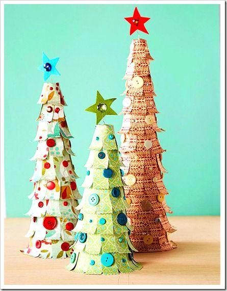 Manualidades navidad rbol hecho con recortes de papel - Arbol de papel manualidades ...