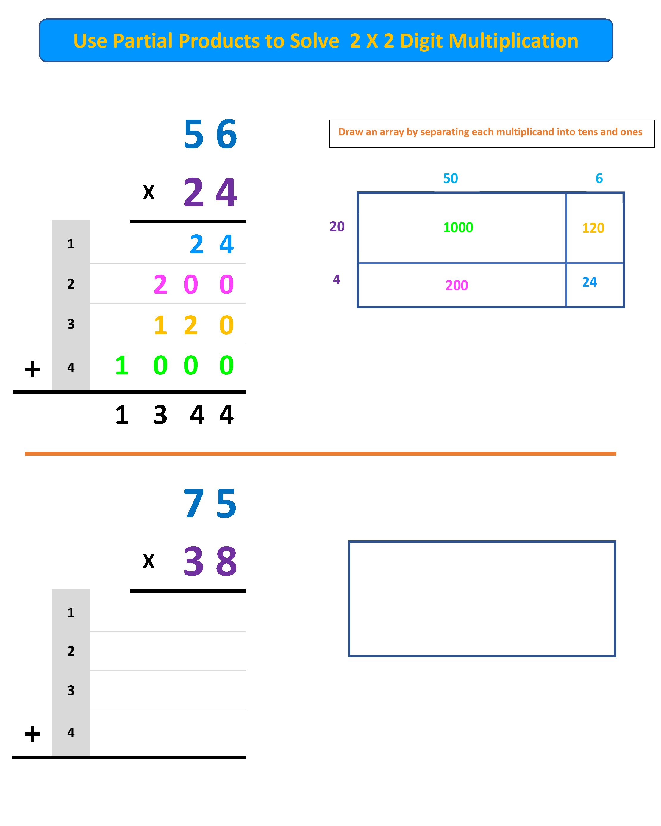 Partial Products Explanation And Worksheet Free In 2020 Worksheets Free Math Worksheets Worksheets Free