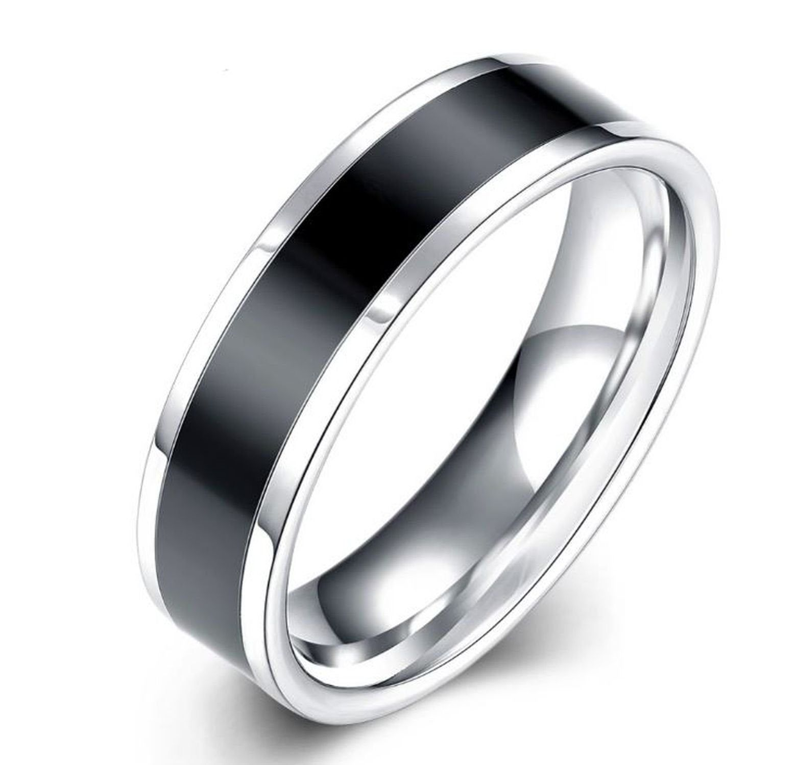Mens Titanium Band with Black Stripe two tone in sizes 7