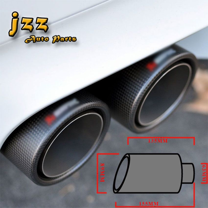 63mm'' Matte Carbon Fiber Akrapovic Car Exhaust Muffler Tip Automobile Pipe Tail For Audi A6: Mazda 2 Exhaust Tip At Woreks.co