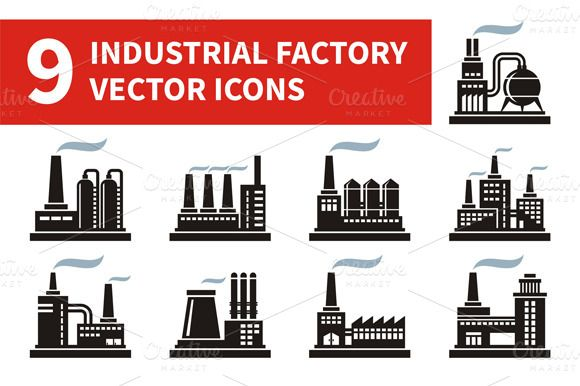 Industrial Factory Icons by serkorkin on @creativemarket