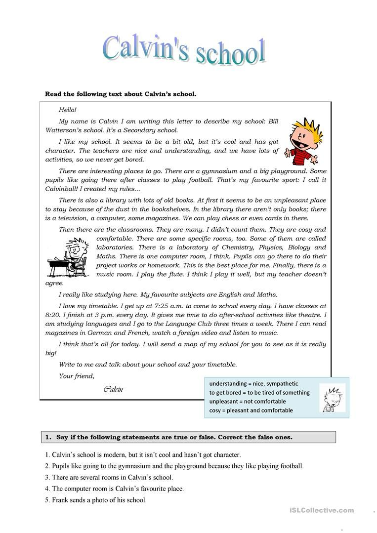 Calvin S School English Esl Worksheets For Distance Learning And Physical Cl In 2021 Reading Comprehension Worksheets Esl Reading Comprehension Reading Comprehension [ 1079 x 763 Pixel ]