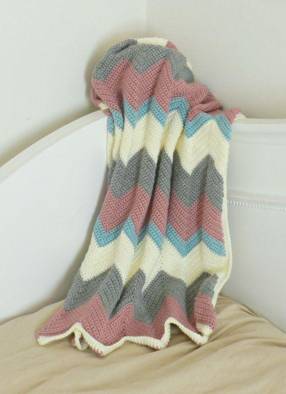 Chevron crema, rosa, turquesa, gris de ganchillo bebé Manta - manta ...
