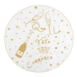 Set de table rond ivoire paillett or x6 8cm no l noir - Set de table paillete ...