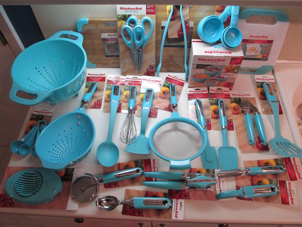 Kitchenaid Set Of 38 Kitchen Utensils In Aqua Turquoise Blue Sky
