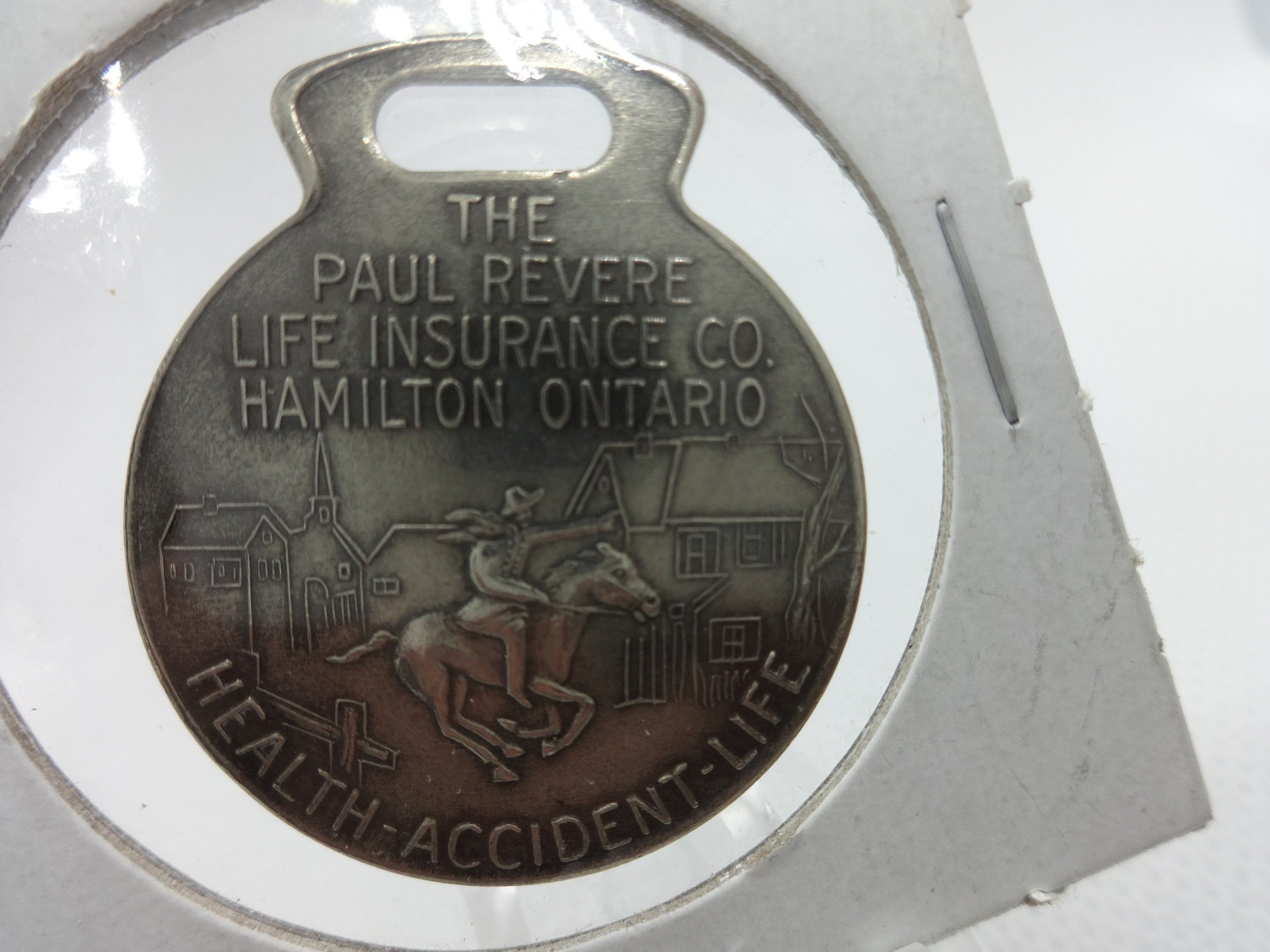 Paul Revere Life Insurance Company Watch Fob Insurance Card In