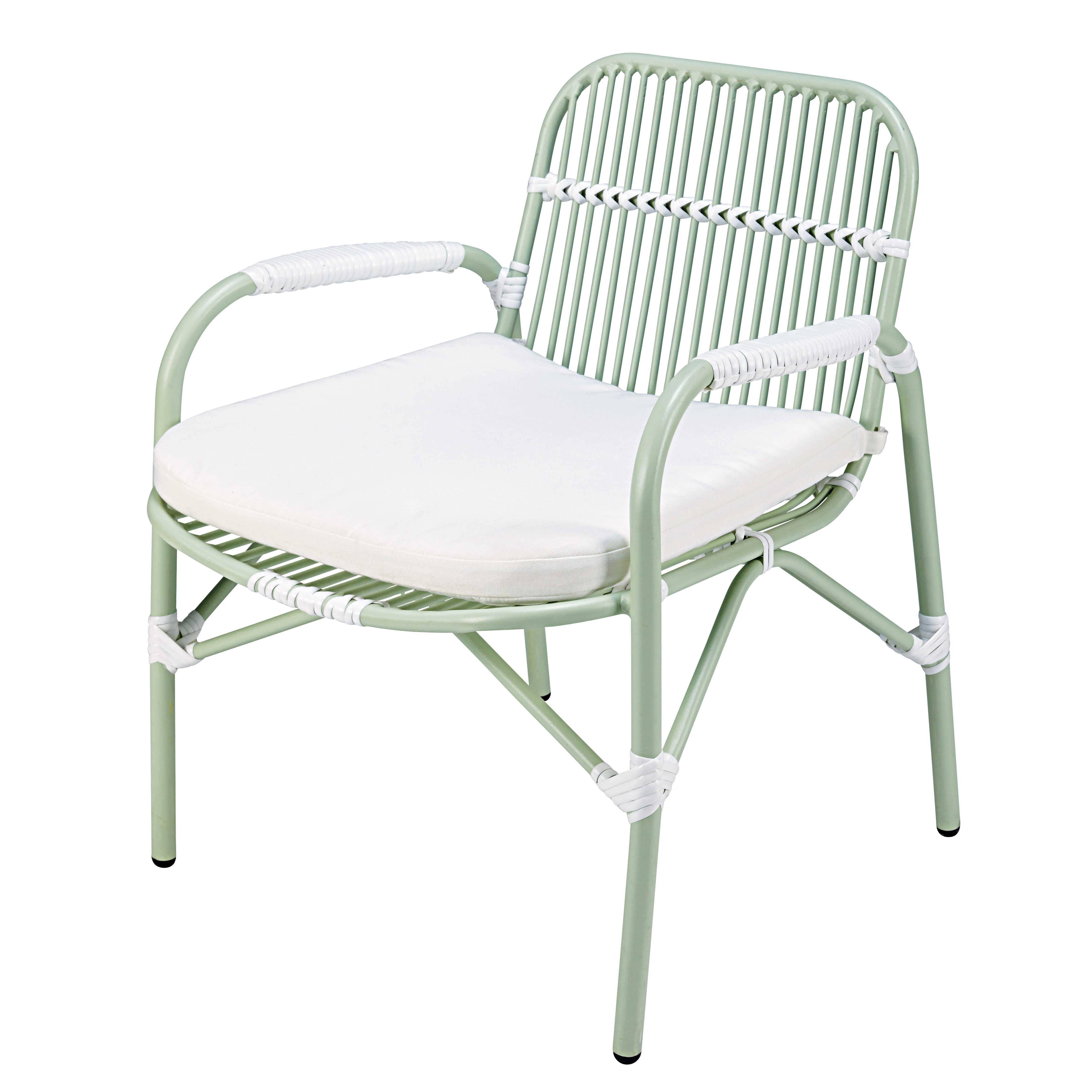 Gartensessel aus hellgrünem Aluminium mit weißem Kissen Jetzt bestellen unter