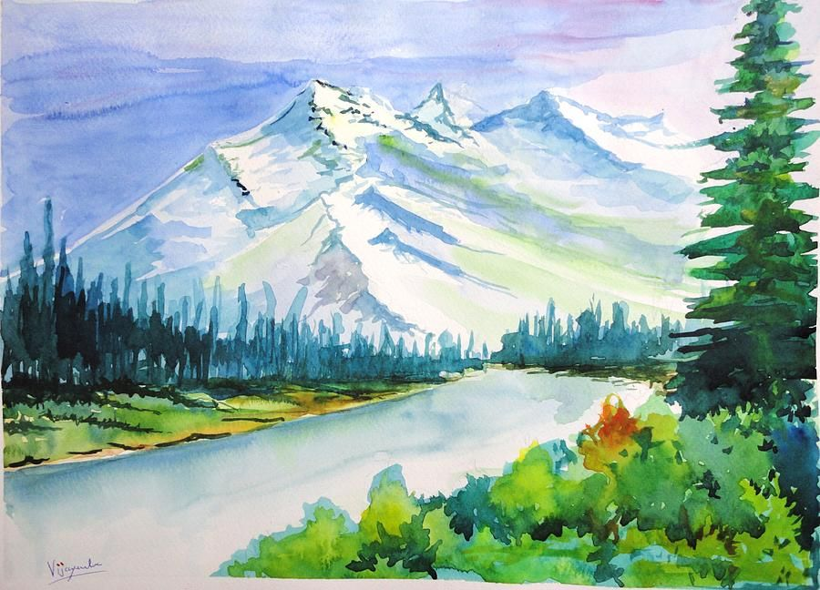 Snowy Mountains By Vijayendra Bapte Painting Snow Landscape