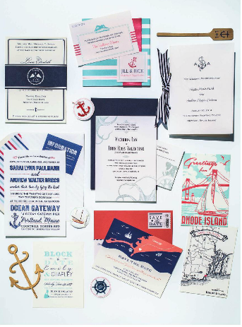 Rhode Island Monthly  Engaged 2015  Wooden oar and anchor invitation with navy& white stripped ribbon by New England Invitations