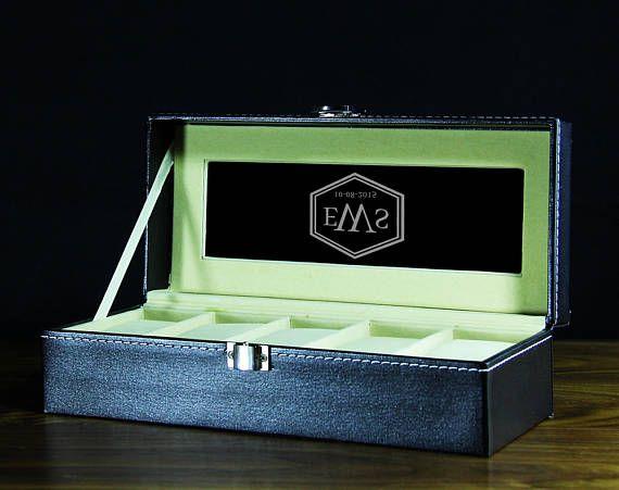 Personalized Watch Box 5 Holders Groomsmen Gift Wedding Gift