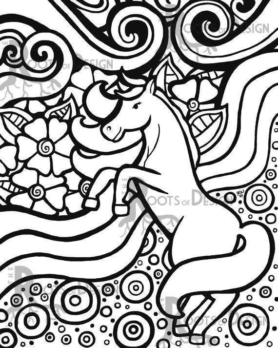 INSTANT DOWNLOAD Coloring Page - Unicorn Art Print ...