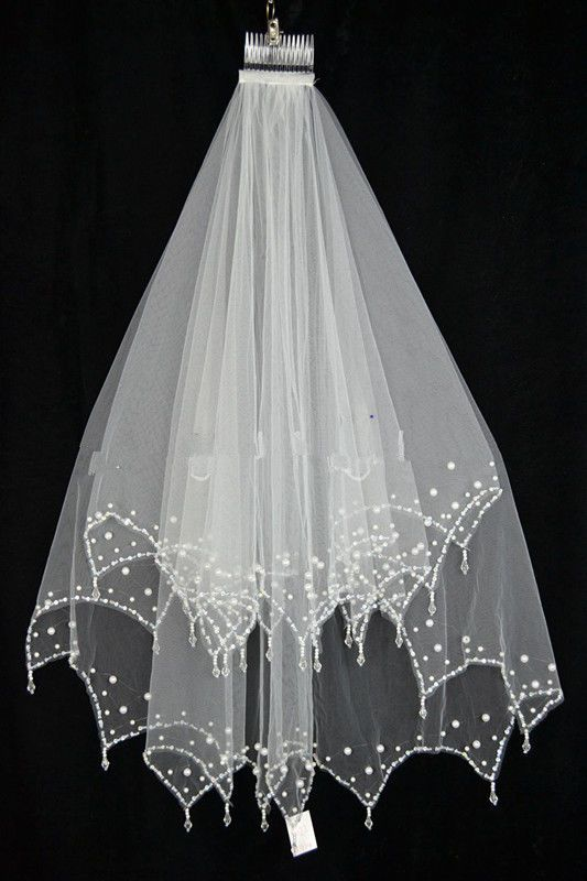 New 2T Ivory//White Elbow Beaded Edge sequins Bridal Wedding Veil With Comb