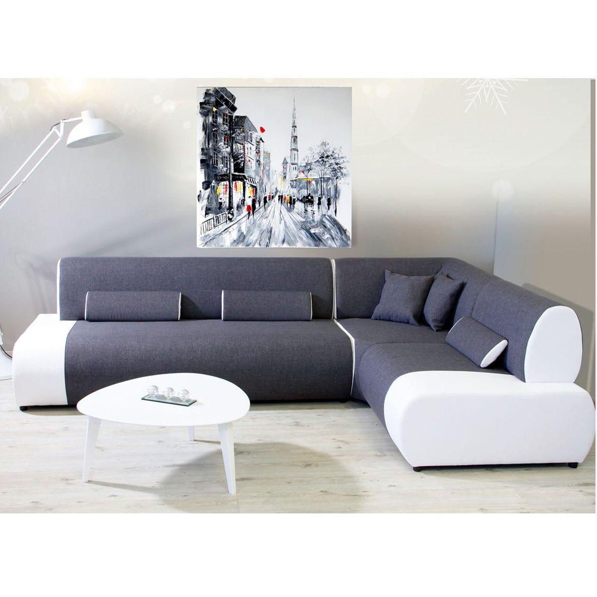 Canapé angle droit tissu polyester et pvc gris et blanc Miami