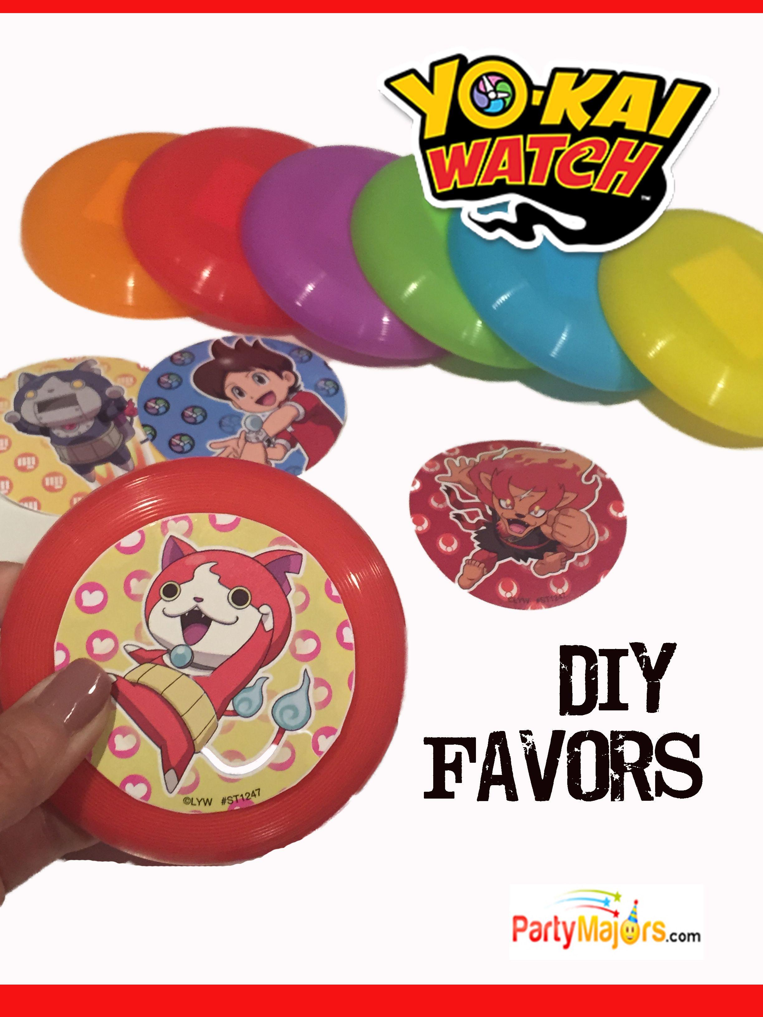 Yo kai watch party diy favors make frisbees from stickers cheap easy yokai favors