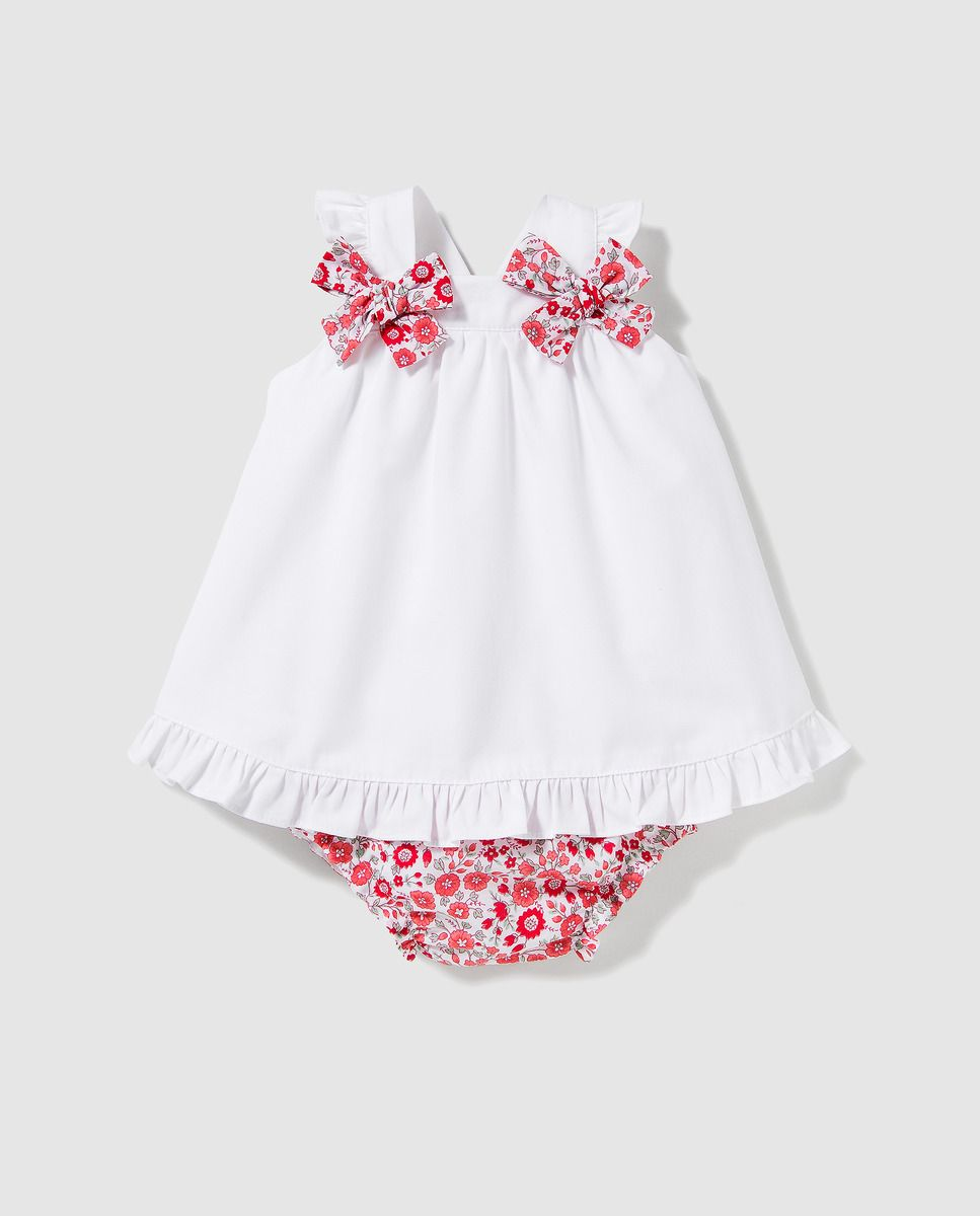 ba976fa3a Vestido de bebé niña Dulces en blanco con lazos
