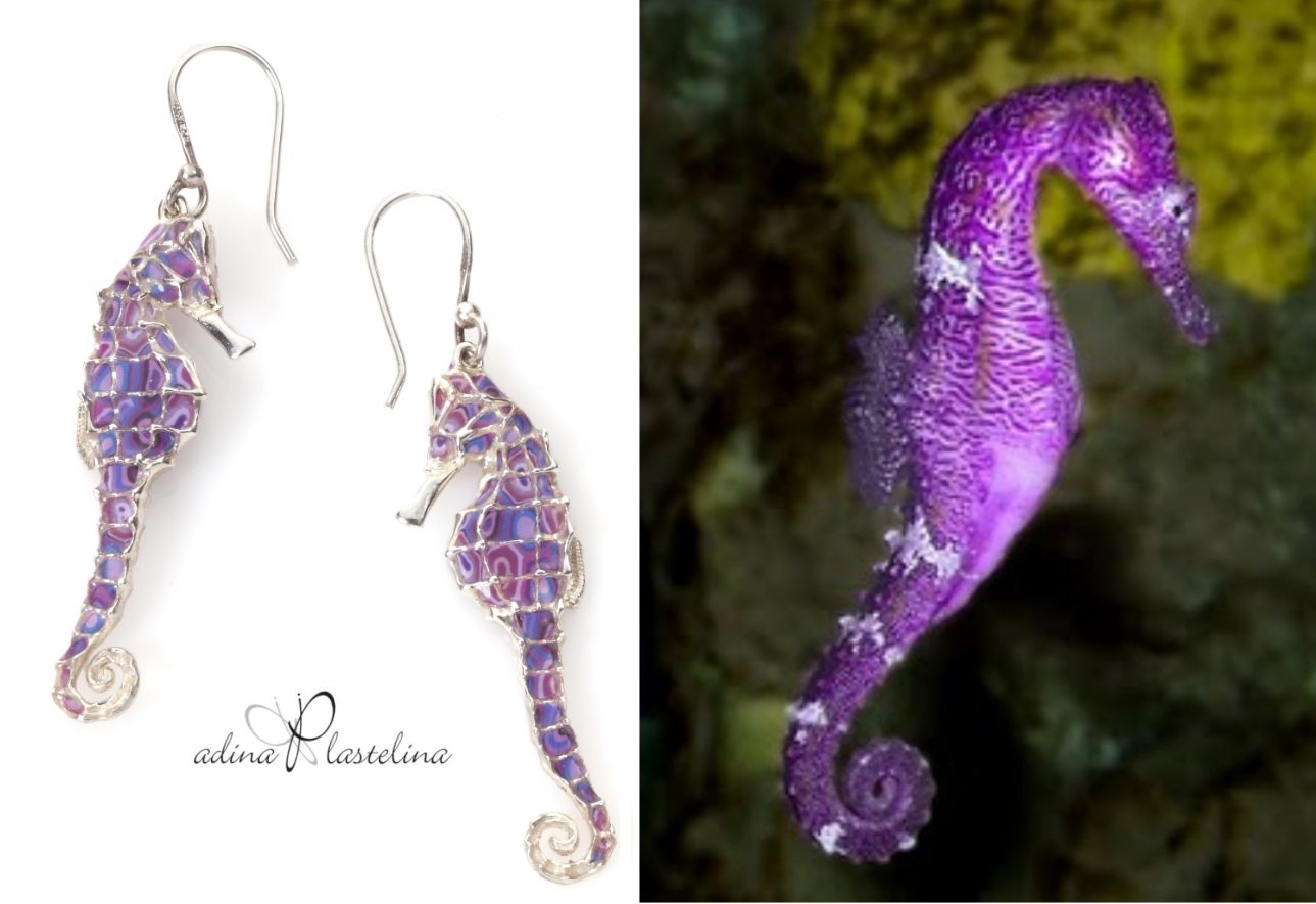 Purple Seahorse? Yes it is! Handmade jewelry by Adina Plastelina. The combination of noble metals and ancient craftsmanship with modern materials creates an innovative, exceptional design language, giving the jewelry creation a classic and refined look. http://adinaplastelina.com/item-249