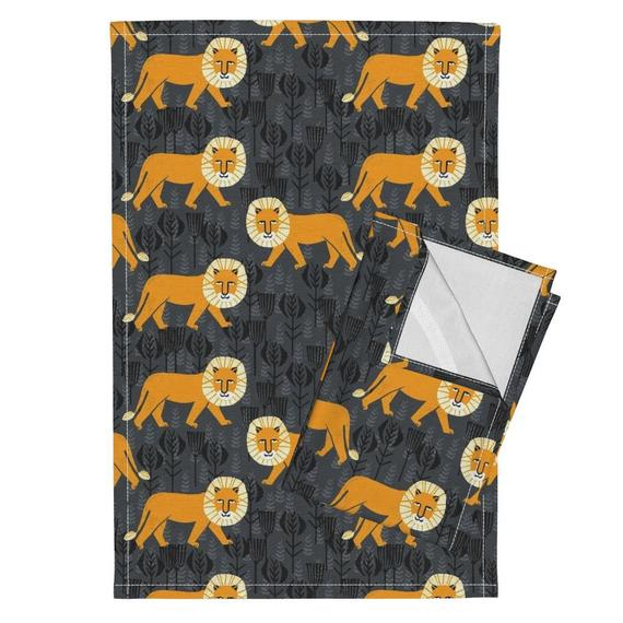 Orange Lion Tea Towels (Set of 2) - Lion On Turmericcharcoal by andrea_lauren - Orange Grey Safari L