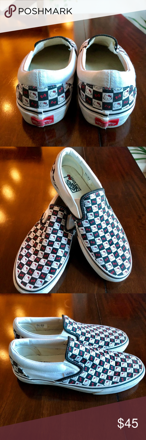 5c9eda889f4 Hello Kitty Checkered Vans Slips Limited Edition! Limit edition Hello Kitty  Vans! Barely worn. Great condition! Women size 9.5 Men size 8 Vans Shoes ...