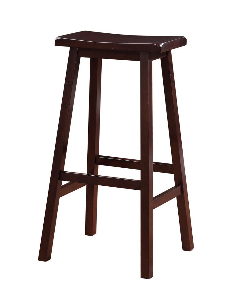 Classic Saddle Stool Bar Height Dark Brown Stain Saddle