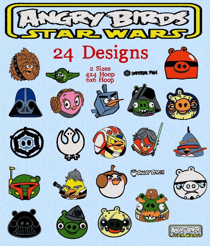 24 Angry Birds Star Wars Embroidery Designs Instant Download