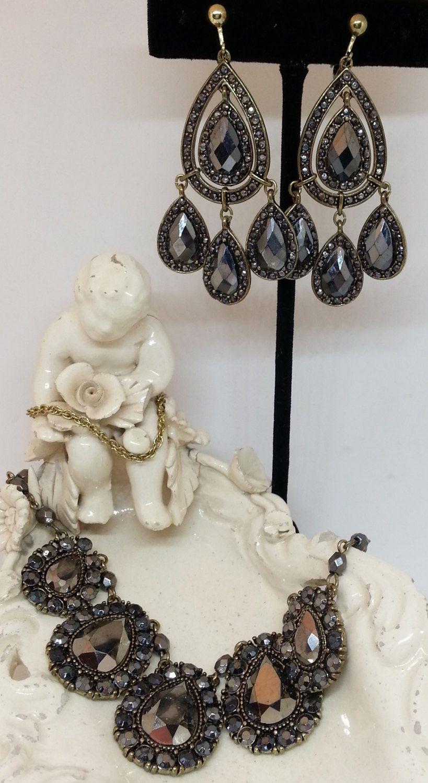 Nina Ricci Avon Hematite Necklace & Chandelier Earrings Set, Gold ...