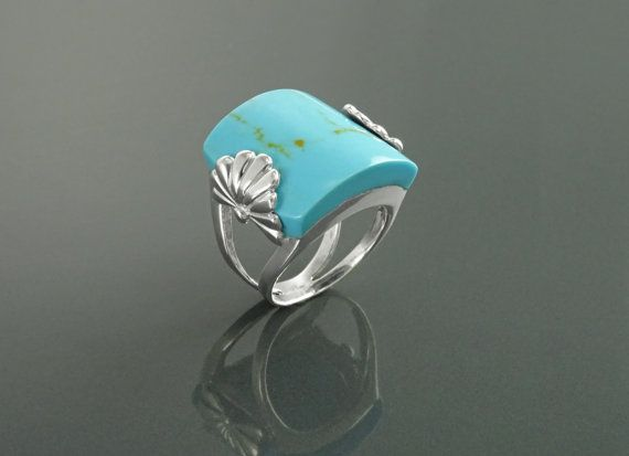 Blue Turquoise Ring Sterling Silver Rings Antique Stone by KRAMIKE