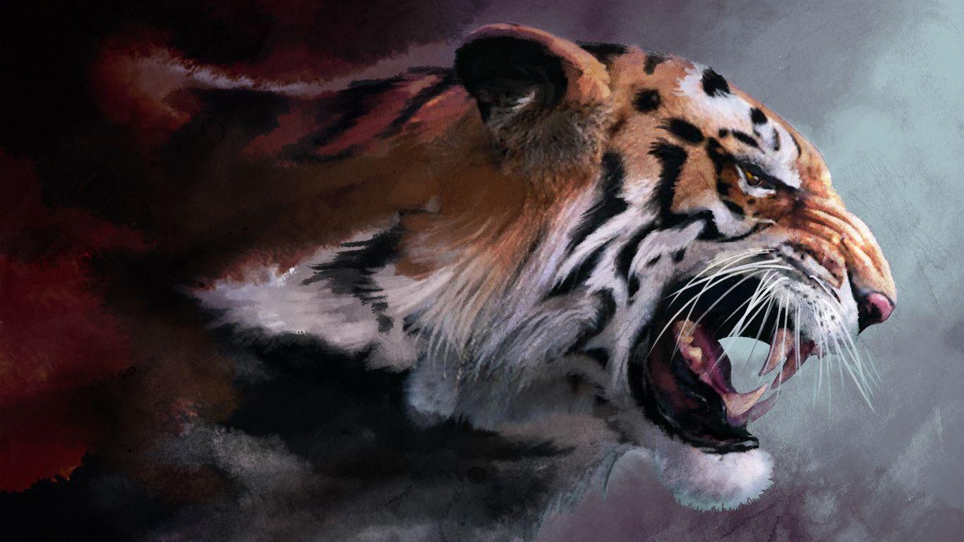 3d Wallpaper Beautiful Artwork Tiger Wallpaper Tiger Painting Angry Tiger