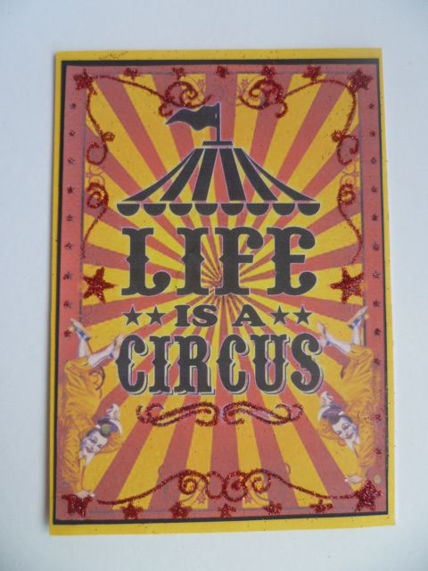 Circus themed card using images and paper from the Gecko Galz