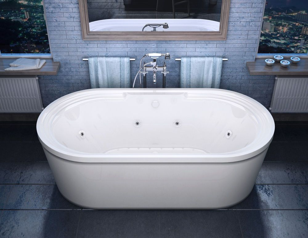 Lucien 34 x 67 Oval Freestanding Air & Whirlpool Water