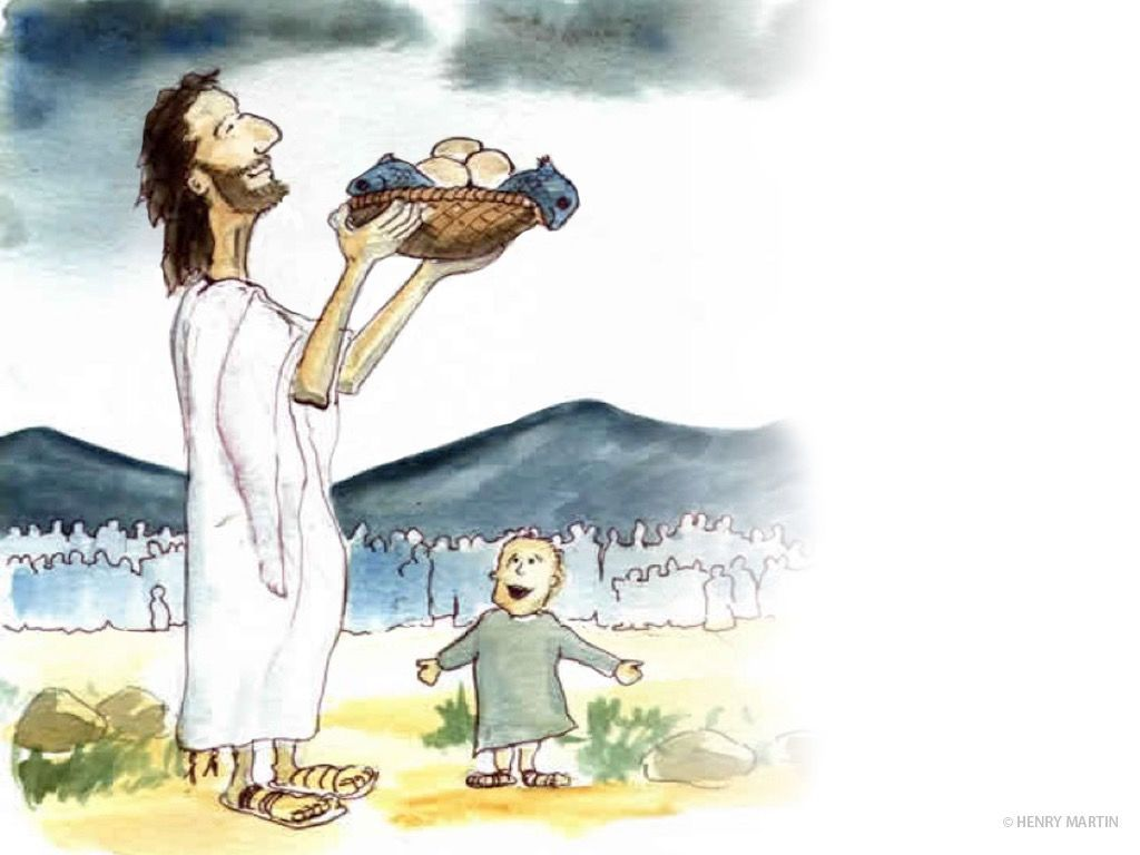 Jesus Took The Five Loaves And Two Fish Looking Up To Heaven He