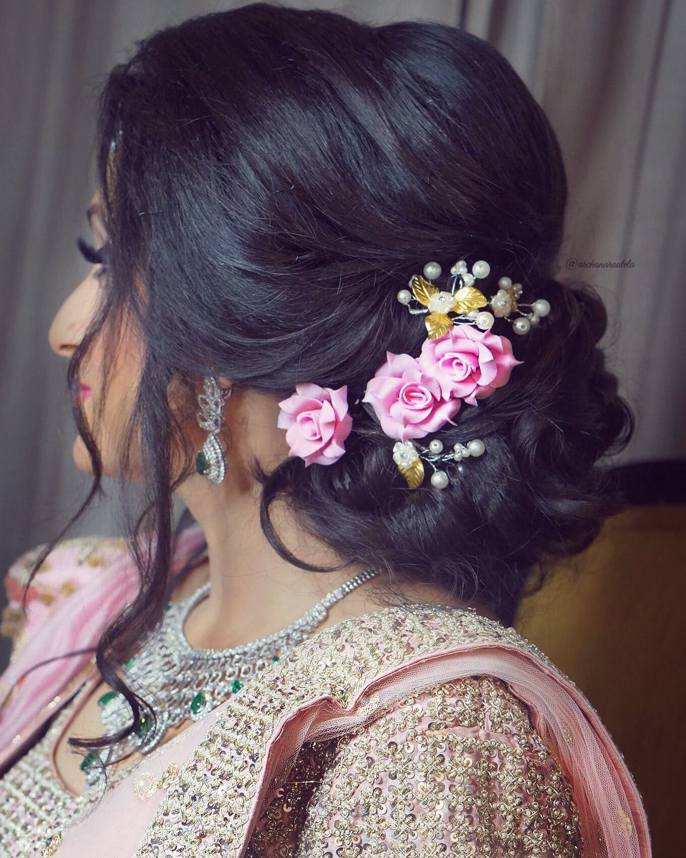 Slay The Hair On Your Engagement Pink Rose Lower Bun Loose Strands Hair Artistry By Arc Engagement Hairstyles Indian Bridal Hairstyles Bridemaids Hairstyles