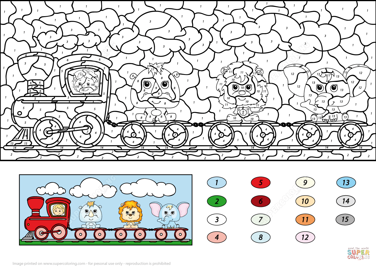 Train with Lion, Elephant and Rhino Color by Number | Super ...