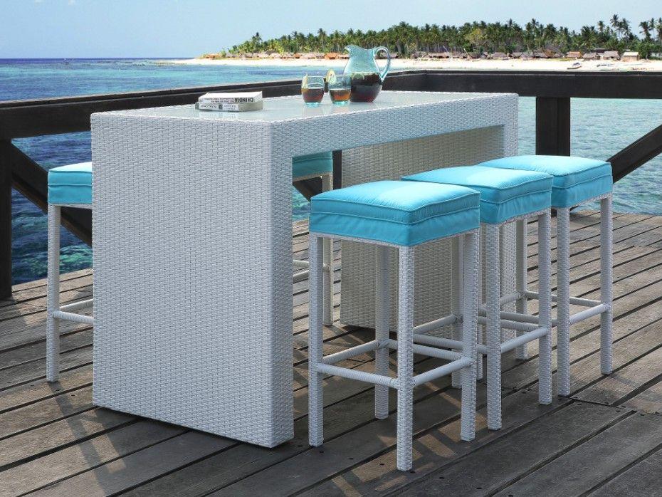 Bar Et 6 Tabourets De Jardin Salina En Resine Tressee Blanche Assise Turquoise Mesas De Bar Bar En La Azotea Salas Lounge