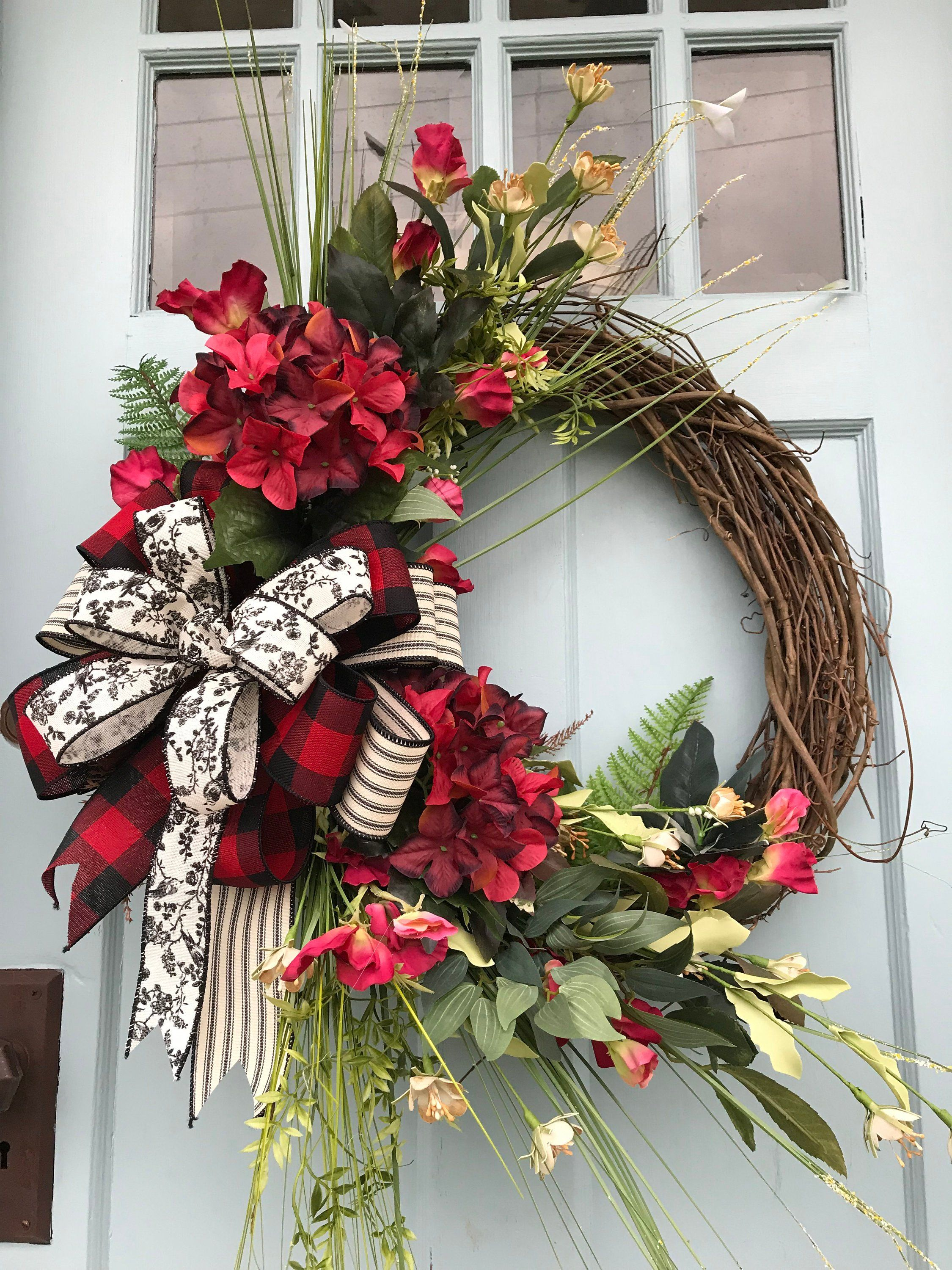 Photo of Farmhouse red hydrangea and green flower farm grapevine wreath for door. Wreaths, wreaths for front door, farmhouse, Christmas