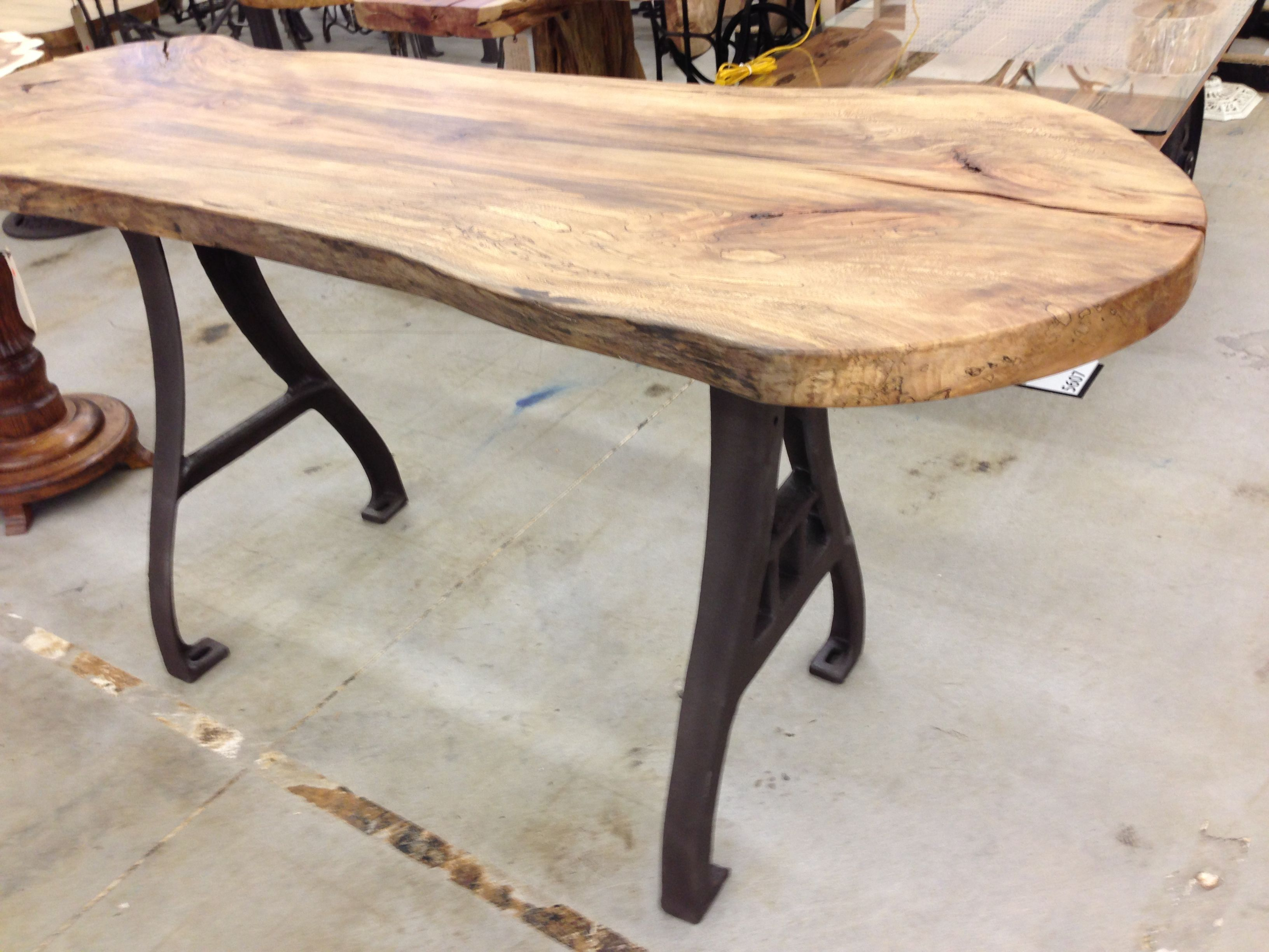 Cast Iron Legs And Sliced Tree Top Industrial Table
