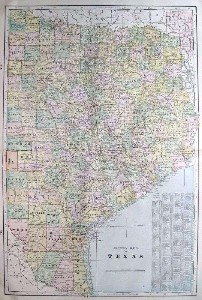 Antique EAST TEXAS Map Of Texas Original Map Gallery Wall Art - Map of east texas