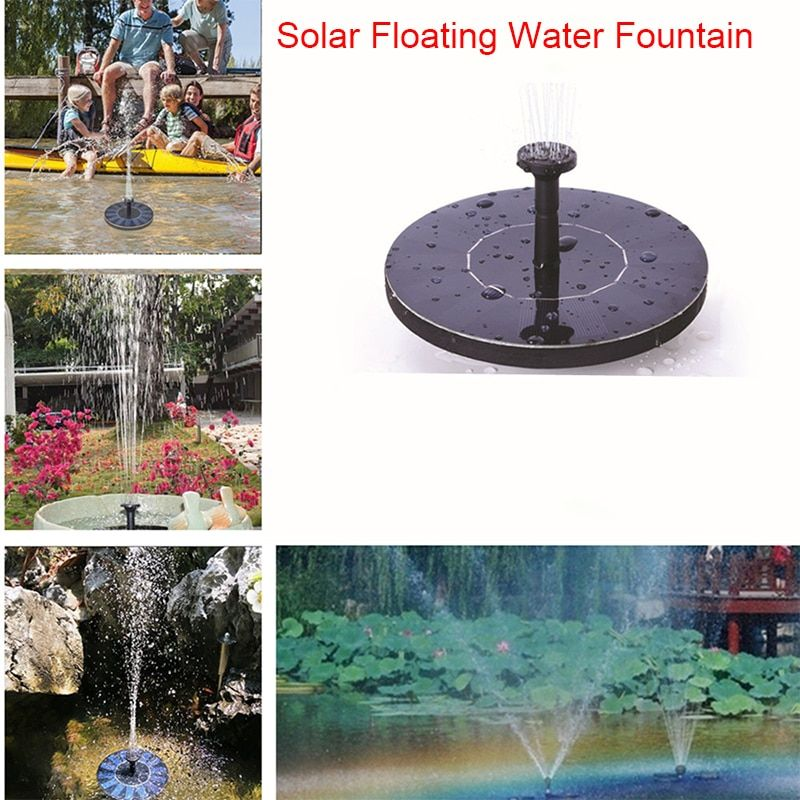 Mini Solar Powered Floating Bird Bath Water Panel Fountain Pump