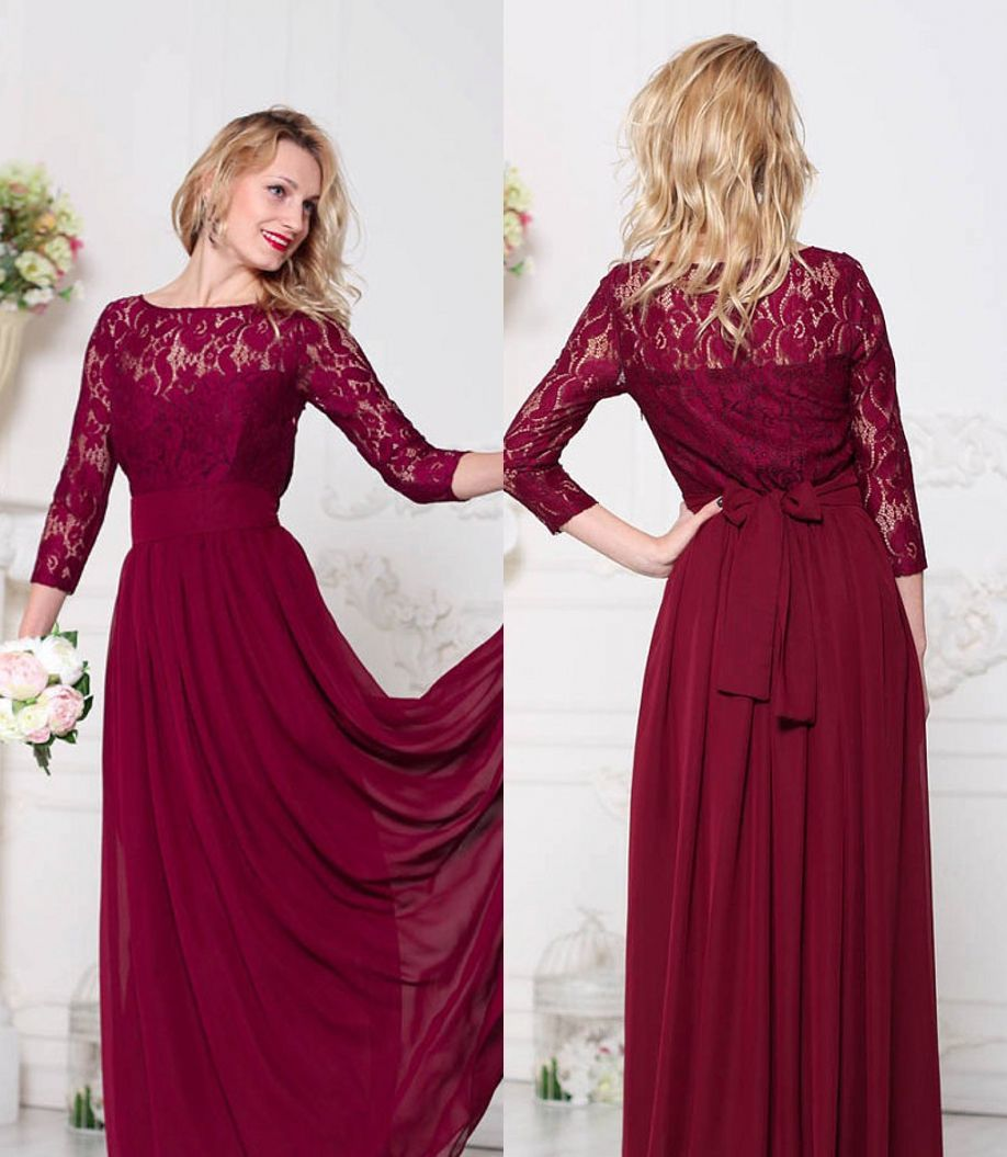 Dark Red Lace Chiffon Modest Bridesmaid Dresses Long With 3/4 ...