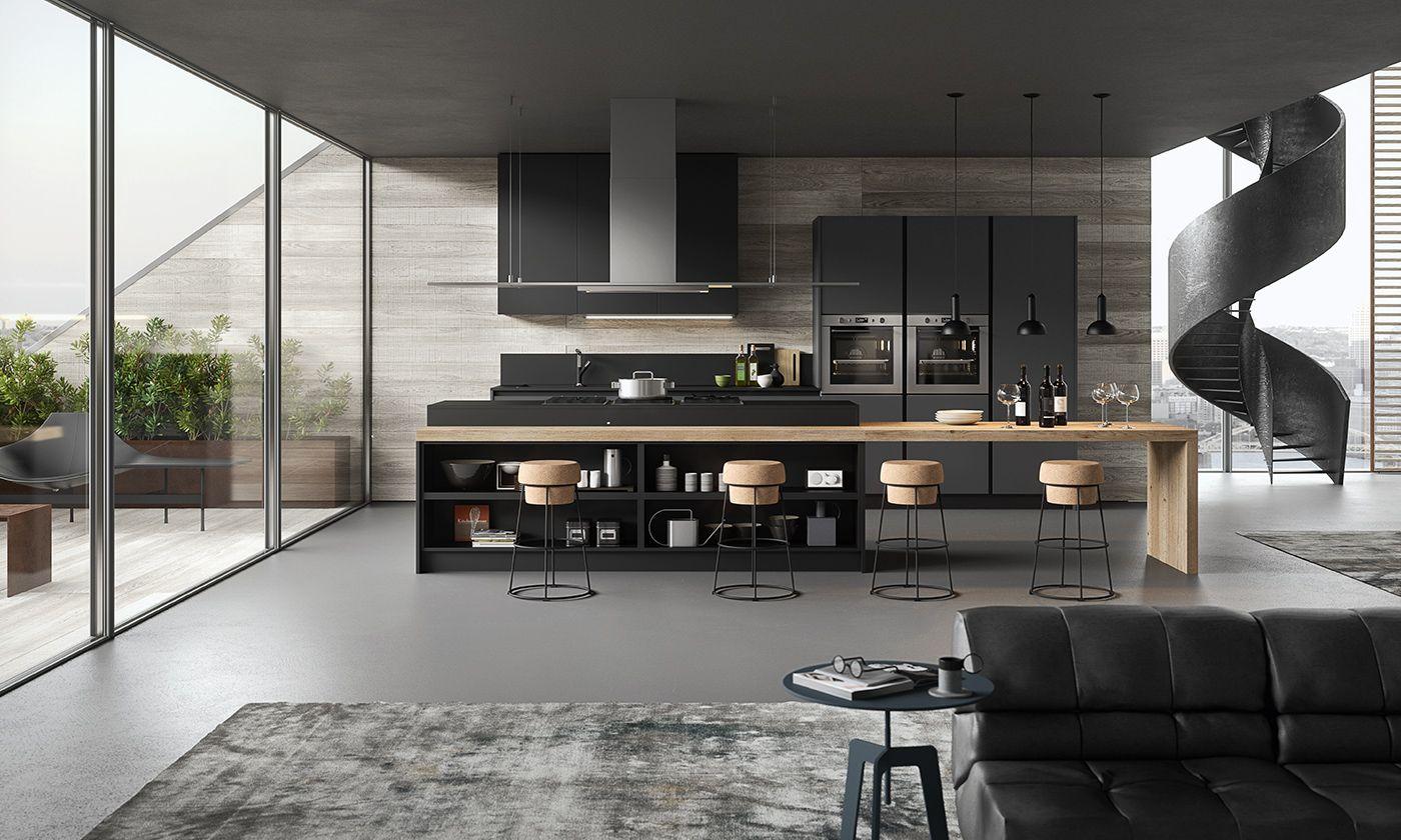 Grigio Bromo E Nero Cucina Moderna De Sign Gicinque Progettazione Di Una Cucina Moderna Cucine Contemporanee Interni Della Cucina