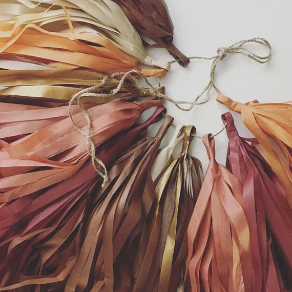 FALLING for AUTUMN tassel garland / fall rustic brown copper burgundy wedding ceremony aisle marker decorations woodland baby shower