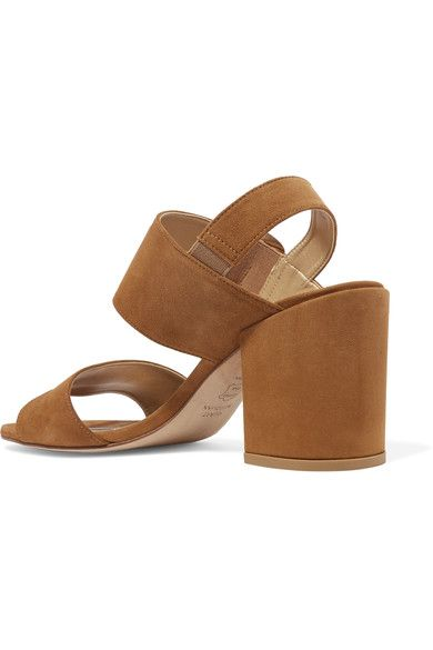 fcb2cd383056 Heel measures approximately 85mm  3.5 inches Tan suede Buckle-fastening  strap Designer color  Camel Made in Spain