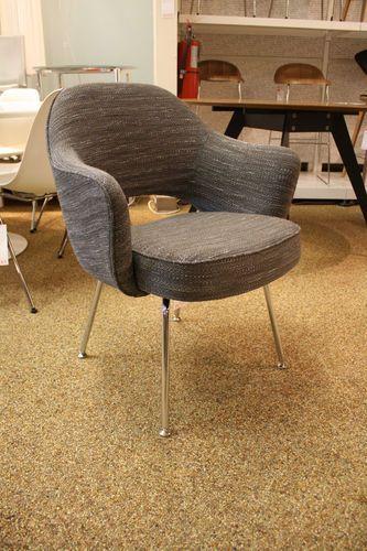 KNOLL Saarinen Executive Armchair With Metal Legs Rivington Fabric DWR