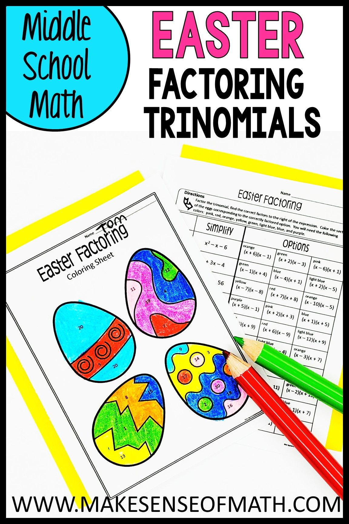Easter Math Activity Factoring Trinomials In