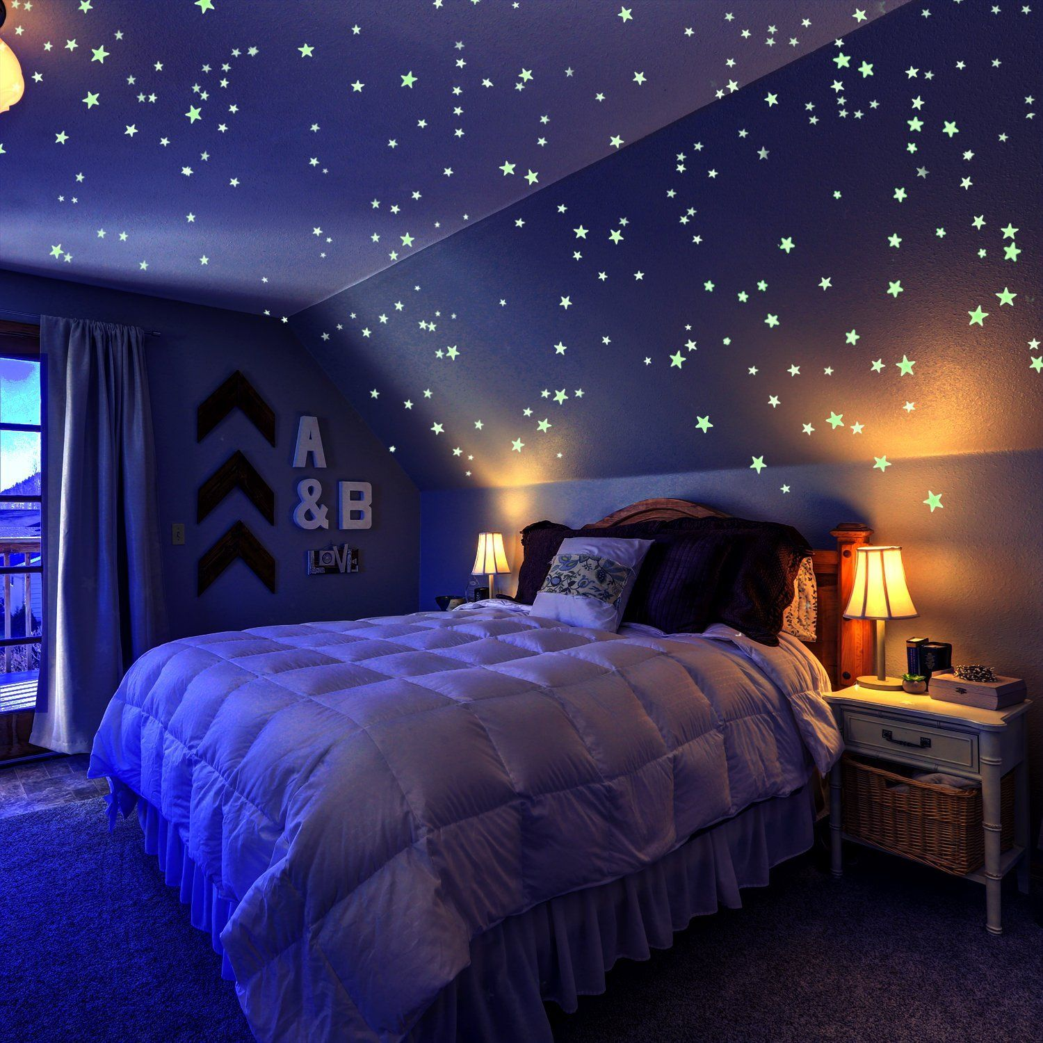 Glow in the Dark Stars pack of 909, Set with Adhesive