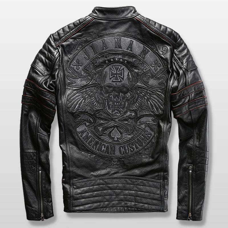 Genuine Cow Leather Motorcycle Jacket with embroidery