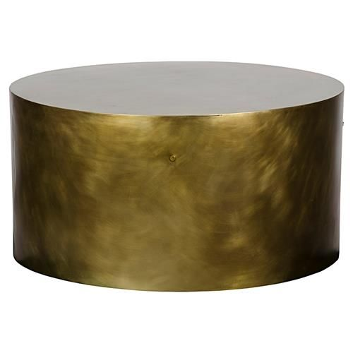 Palladio Modern Antique Brass Cylinder Drum Coffee Table Drum Coffee Table Coffee Table Brass Coffee Table