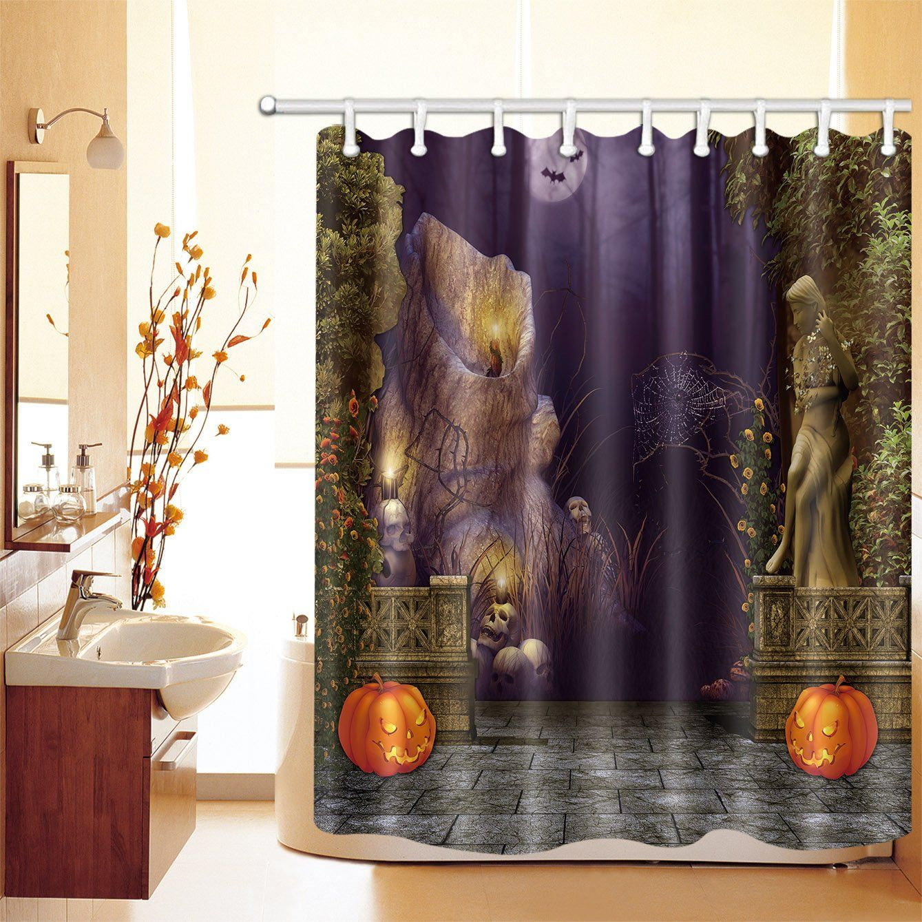 Lb Spooky Place Skull Spider Web Pumpkin Shower Curtain Shower